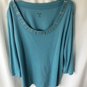 Style & Co Studded Neck Light Teal Blue Tunic 3X